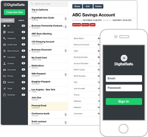 DigitalSafe applicatie interface
